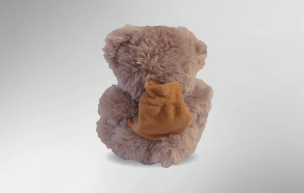 Plüschbär der AIDS-Stiftung von vorn. Sein Fell ist hellbraun, auf dem Rücken trägt er einen kleinen, braunen Rucksack.