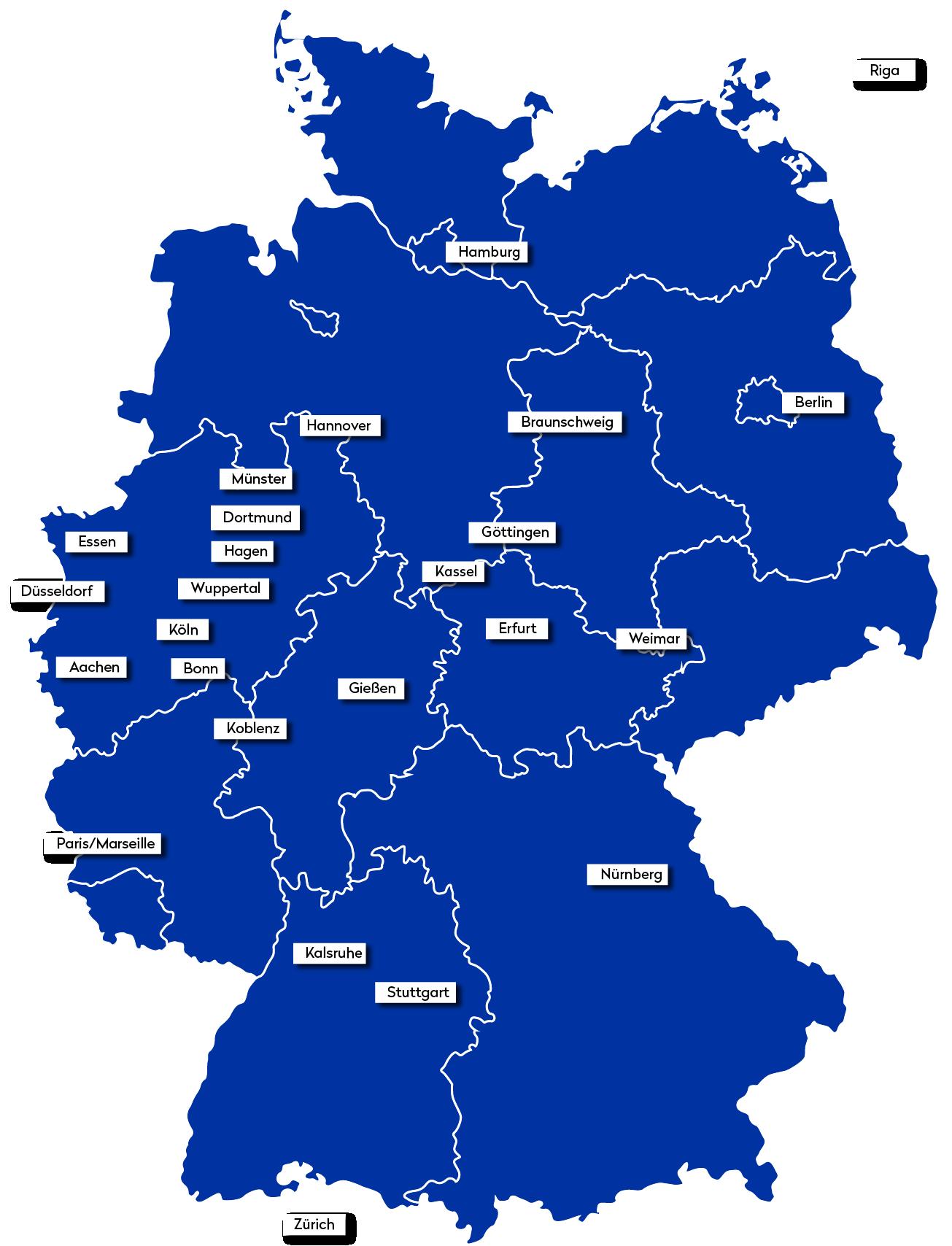 Deutschlankarte mit Markierungen der Namen und Steine